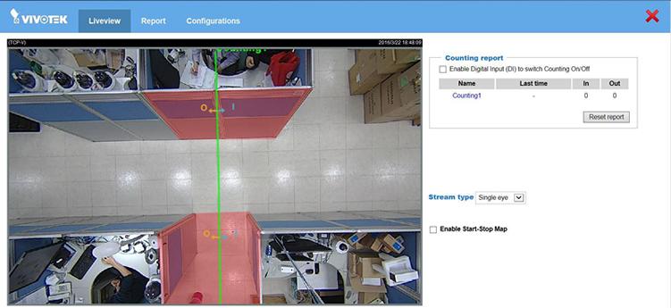 画面上にラインを設定すると入・出がそれぞれ、計測されます。