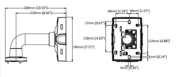 AXIS T91B61 壁面用マウント 図解2