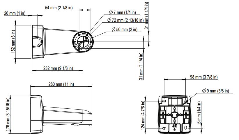 AXIS T91L61 壁⾯・ポールマウント 図解1