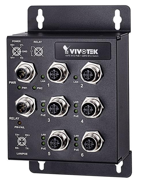 VIVOTEK AW-IHT-0602 産業用EN50155 4xFE M12 PoE + 2xFE M12スイッチ